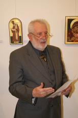Prof. dr. Mirko Juteršek, umetnostni zgodovinar in likovni kritik, Razstava ikon Albine Nastran v galeriji Loterije Slovenije